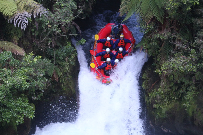 Rafting over a 23-foot waterfall on the Kaituna River in New Zealand